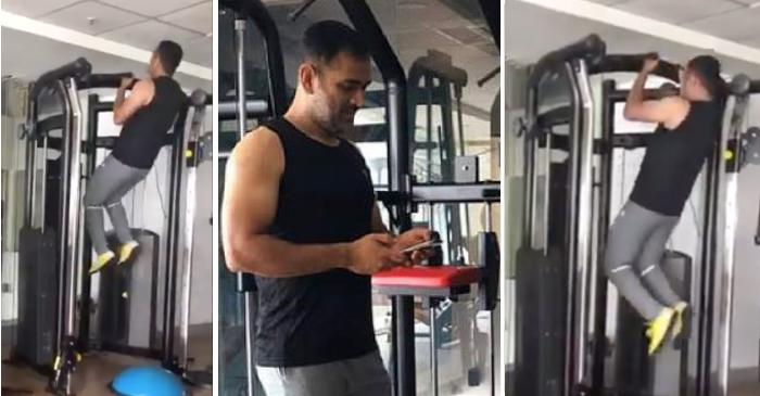 Dhoni in gym